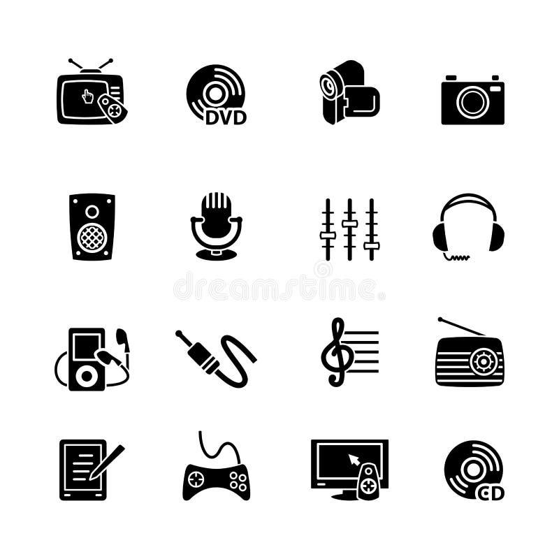 Uppsättning för multimediadatorsymbol royaltyfri illustrationer