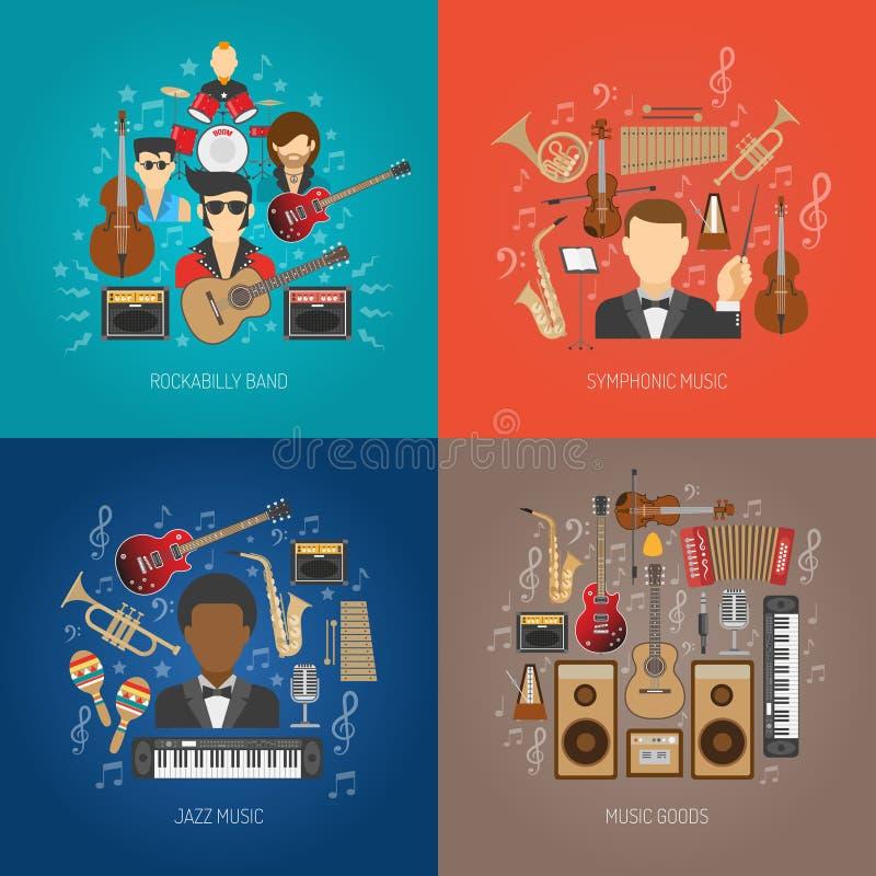 Uppsättning för musikdesignbegrepp stock illustrationer
