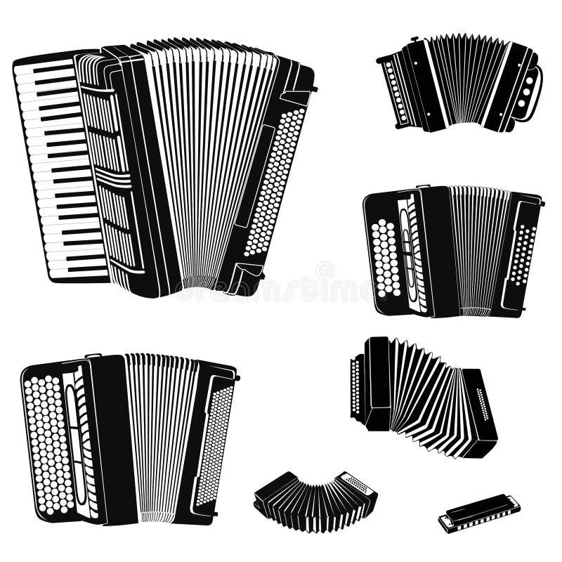 Uppsättning för musikinstrument. stock illustrationer