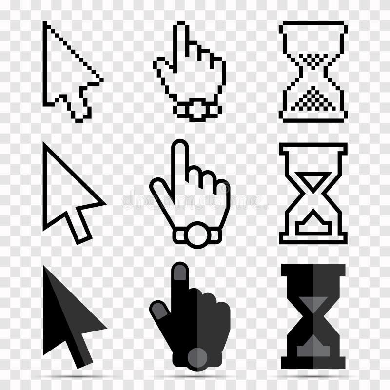 Uppsättning för musmarkörsymbol - PIXEL och släta pilar, händer och timglasklockor vektor illustrationer