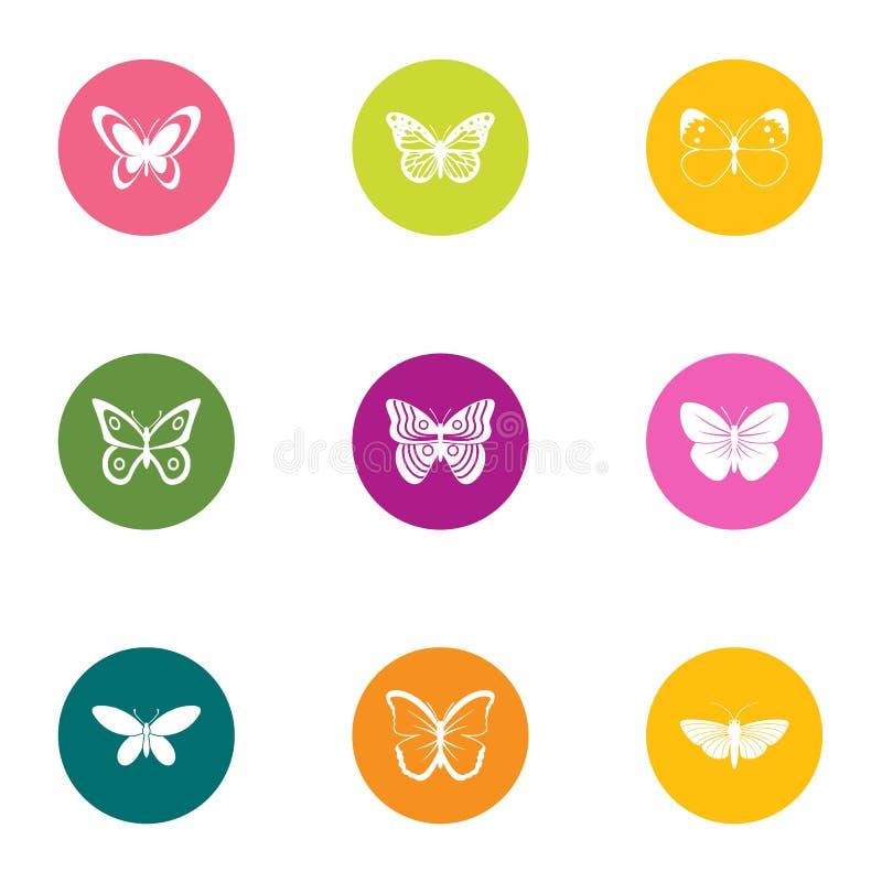 Uppsättning för nattfjärilssymboler, lägenhetstil royaltyfri illustrationer