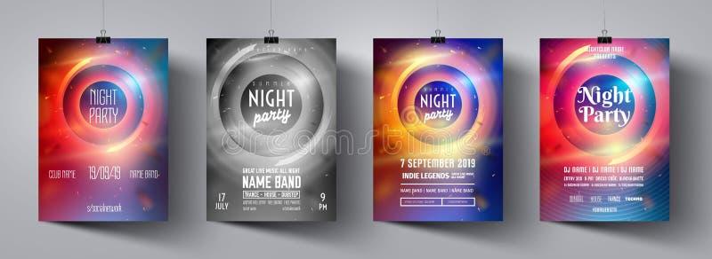 Uppsättning för nattpartiaffisch Festligt banerbegrepp Diskotekreklambladuppsättning Modern festlig broschyr för vektor Minsta br royaltyfri illustrationer