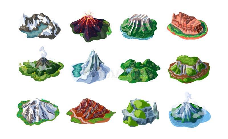 Uppsättning för naturberglandskap stock illustrationer