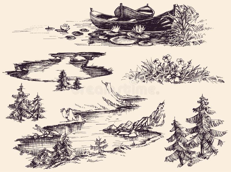 Uppsättning för naturdesignbeståndsdelar royaltyfri illustrationer
