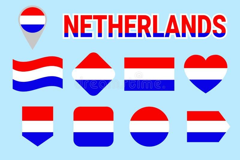 Uppsättning för Nederländernaflaggavektor Samling av holländska nationella flaggstång Holland flaggor Lägenhet isolerade symboler stock illustrationer