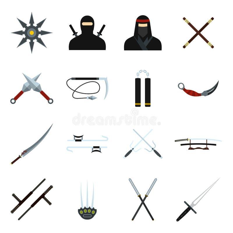 Uppsättning för Ninja lägenhetsymboler royaltyfri illustrationer