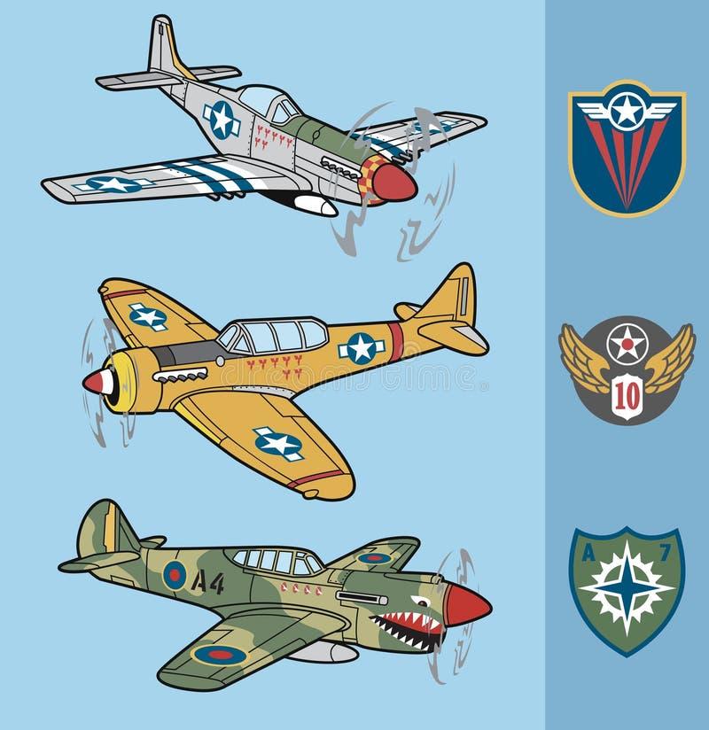 Uppsättning 1 för nivåer för kämpe för tappningvärldskrig II vektor illustrationer