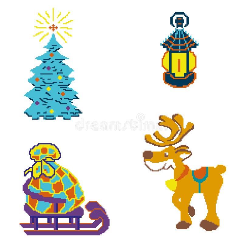Uppsättning för nytt år med det nya året och den glade julen som dras av fyrkanter, PIXEL Bilder för design ett lyckligt nytt år  vektor illustrationer