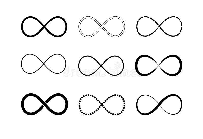 Uppsättning för oändlighetssymbollogoer Svartkonturer Symbol av upprepning och obegränsad cyclicity Vektorillustration på royaltyfri illustrationer
