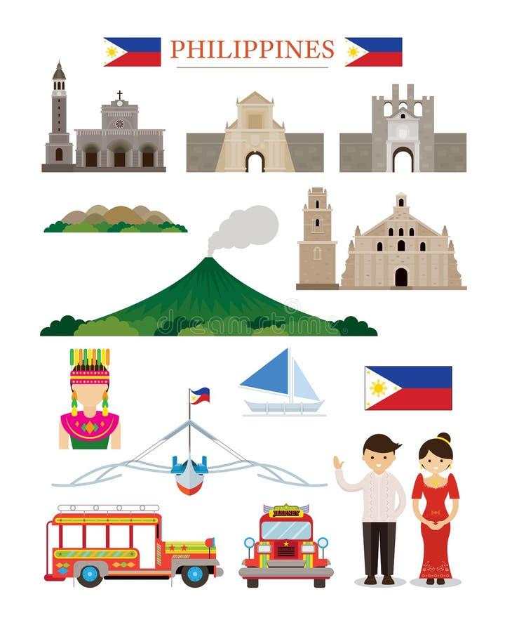 Uppsättning för objekt för byggnad för Filippinernagränsmärkearkitektur royaltyfri illustrationer
