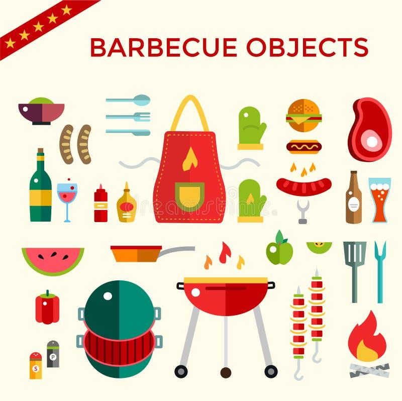Uppsättning för objekt för grillfest- och matsymbolsvektor royaltyfri illustrationer