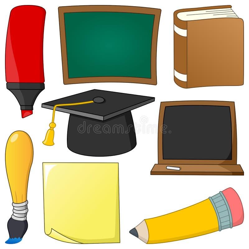 Uppsättning för objekt för tecknad filmskolatillförsel stock illustrationer