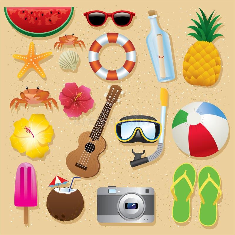 Uppsättning för objekt för strand för sommarferie arkivfoton