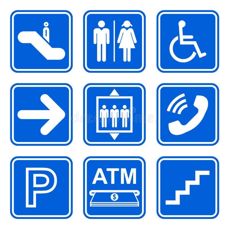 Uppsättning för offentlig serviceteckensymbol på blå bakgrund royaltyfri illustrationer