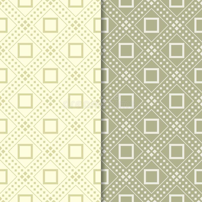 Uppsättning för olivgrön gräsplan av sömlösa geometriska modeller stock illustrationer
