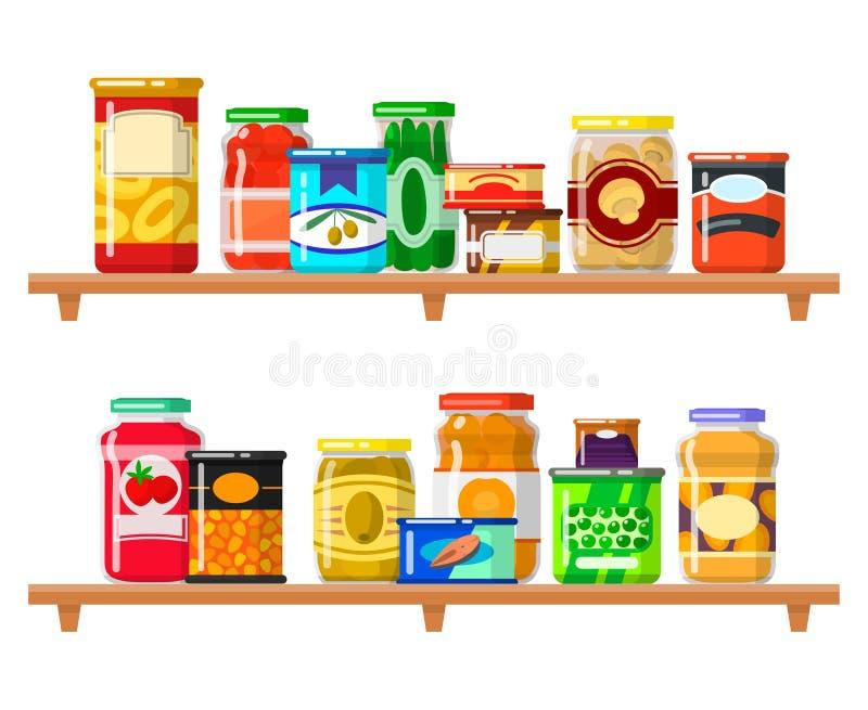 Uppsättning för på burk mat stock illustrationer