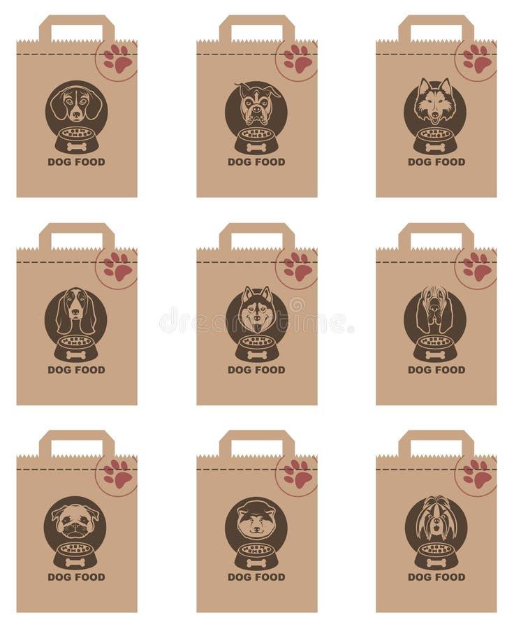 Uppsättning för packar för hundmat royaltyfri illustrationer