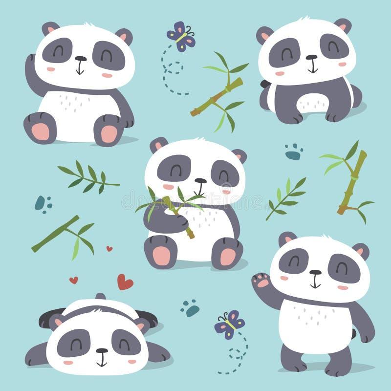 uppsättning för panda för tecknad filmstil gullig vektor illustrationer