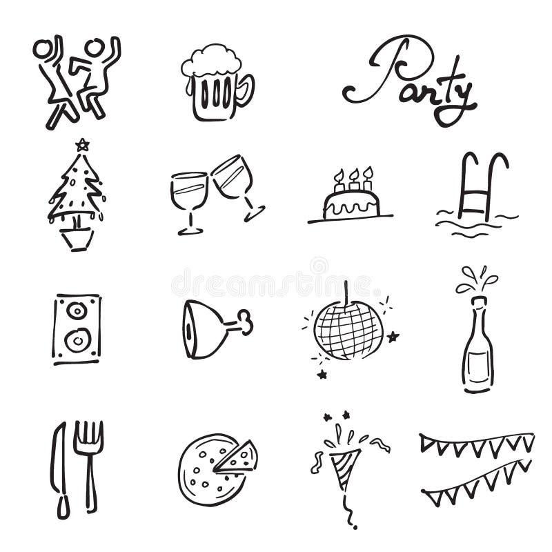 Uppsättning för parti- och möteklottersymboler stock illustrationer