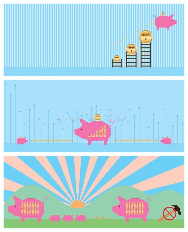Uppsättning för pengarbankbaner vektor illustrationer