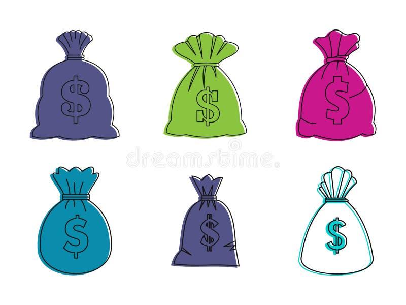 Uppsättning för pengarpåsesymbol, färgöversiktsstil stock illustrationer