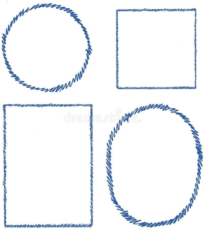Uppsättning för pennslaglängdgräns, fyrkant, rektangel som är oval, runda, färg #2c5aa0 vektor illustrationer