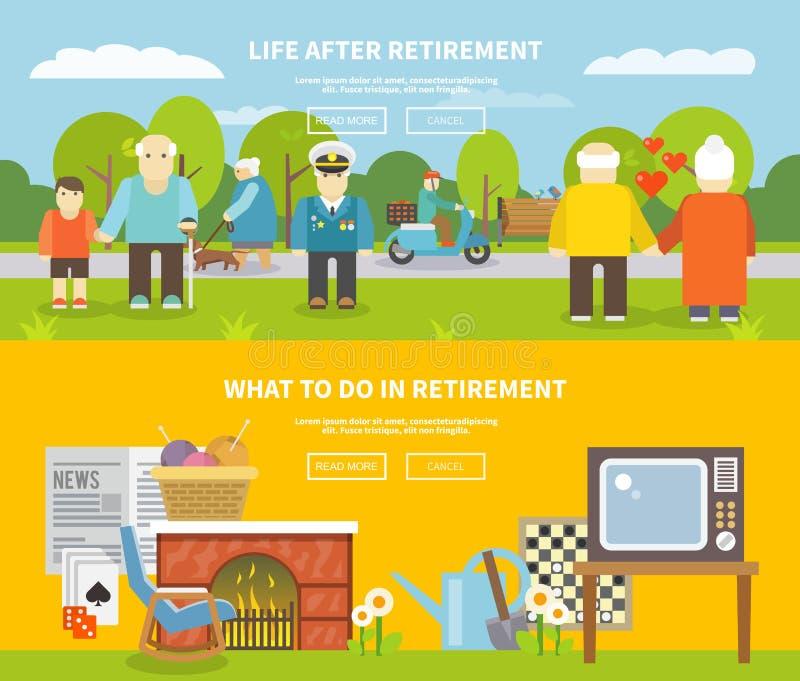 Uppsättning för pensionärlivbaner stock illustrationer