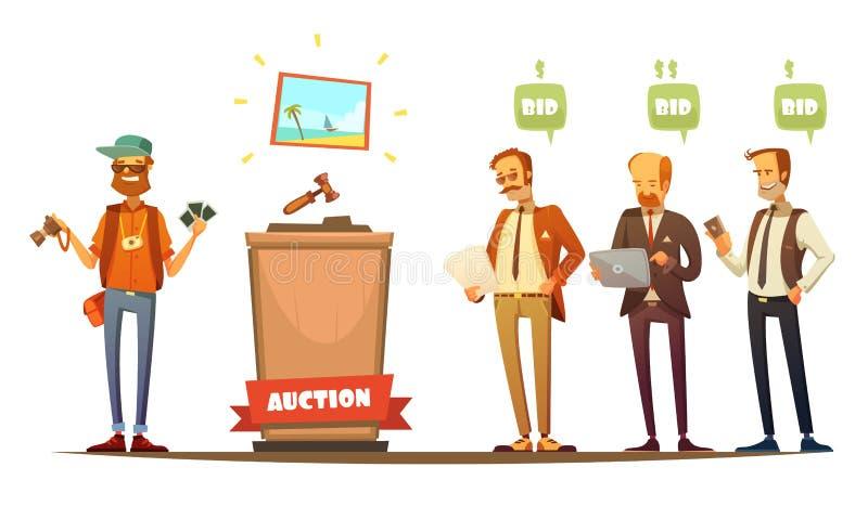 Uppsättning för personer för tecknad film för auktiondeltagare Retro royaltyfri illustrationer