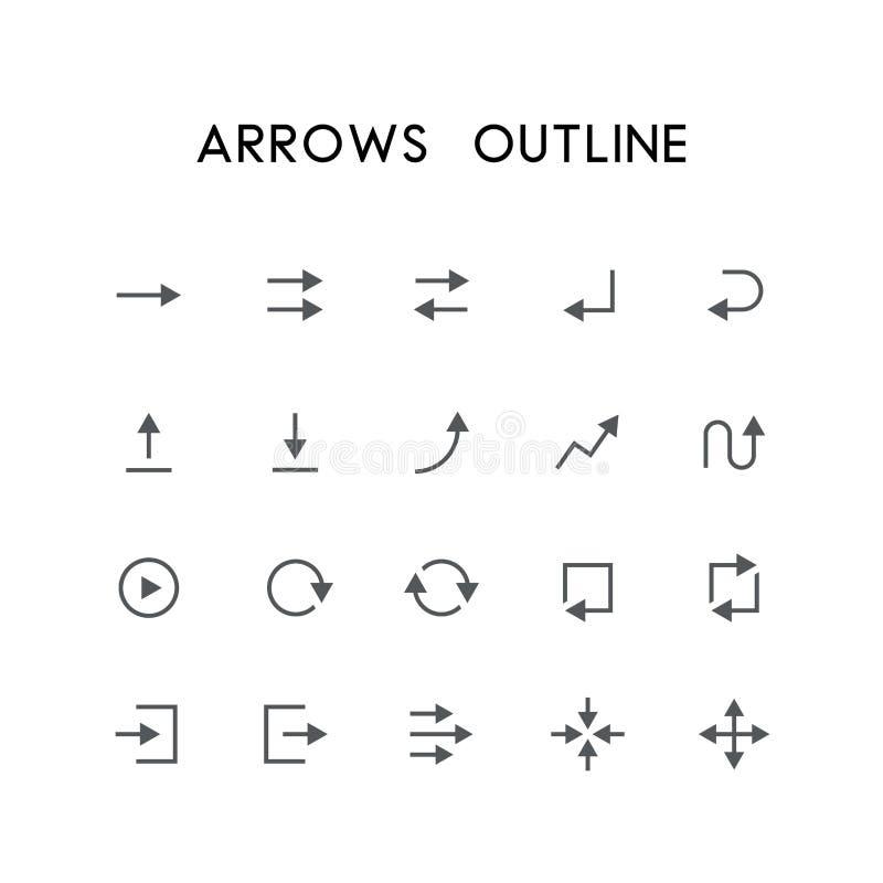 Uppsättning för pilöversiktssymbol vektor illustrationer