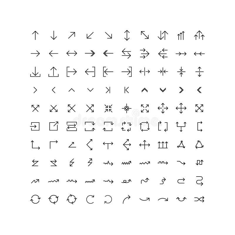 Uppsättning för pilvektorsymbol i tunn linje stock illustrationer