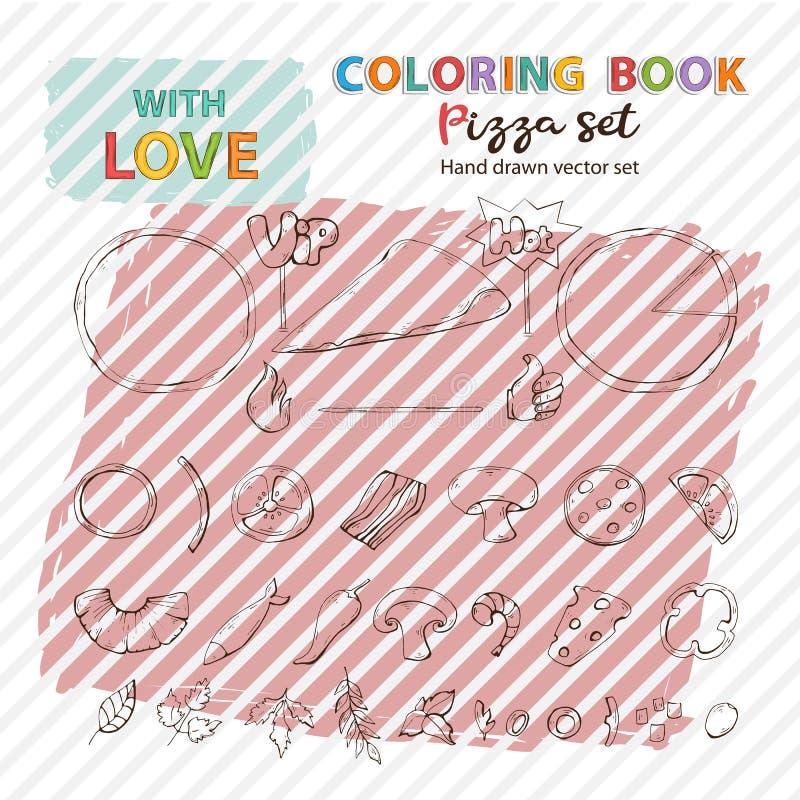 Uppsättning för pizza för vektor för färgläggningbok, samling Pizzaingrediens vektor illustrationer