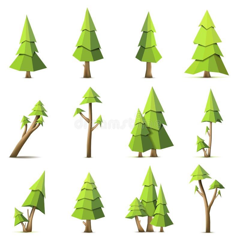 Uppsättning för polygonvektorträd som isoleras på vit bakgrund stock illustrationer