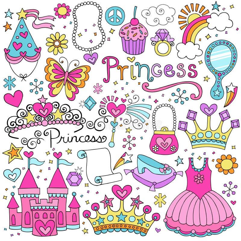 Uppsättning för Princess Saga Tiara Vektor Klottra stock illustrationer