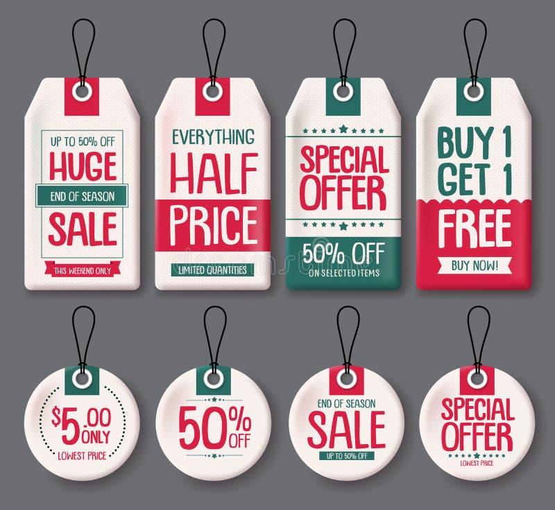 Uppsättning för prislappmallvektor Vitbokförsäljningsetiketter med enorm försäljning och rabatt smsar stock illustrationer