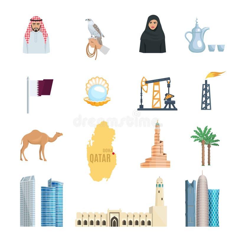 Uppsättning för Qatar lägenhetsymboler royaltyfri illustrationer