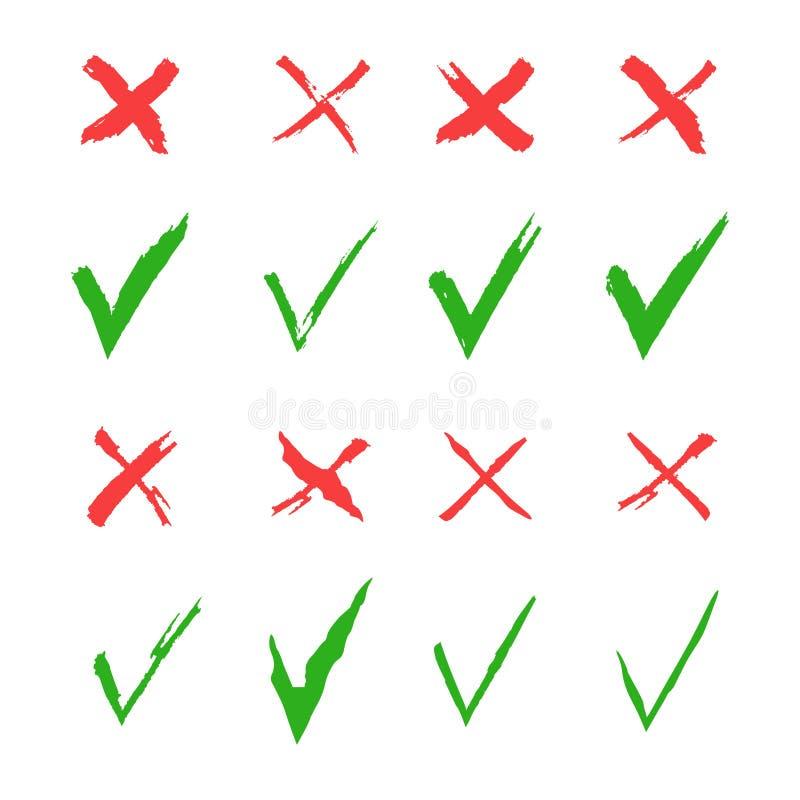 Uppsättning för Röda korset- och gräsplanfästingvektor Ja och inga symboler för websites och applikationer Högert och fel tecken  royaltyfri illustrationer
