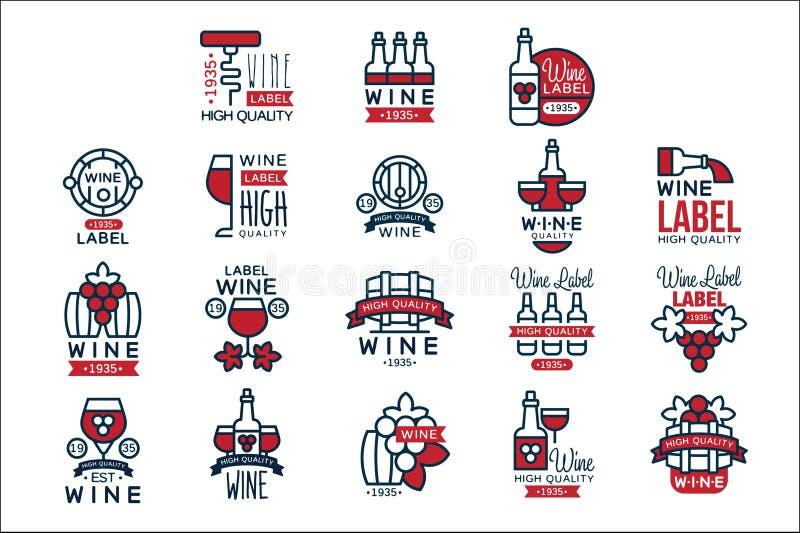 Uppsättning för rött vintappningetiketter, samling av abstrakta illustrationer för vektor för druvavinemblem royaltyfri illustrationer