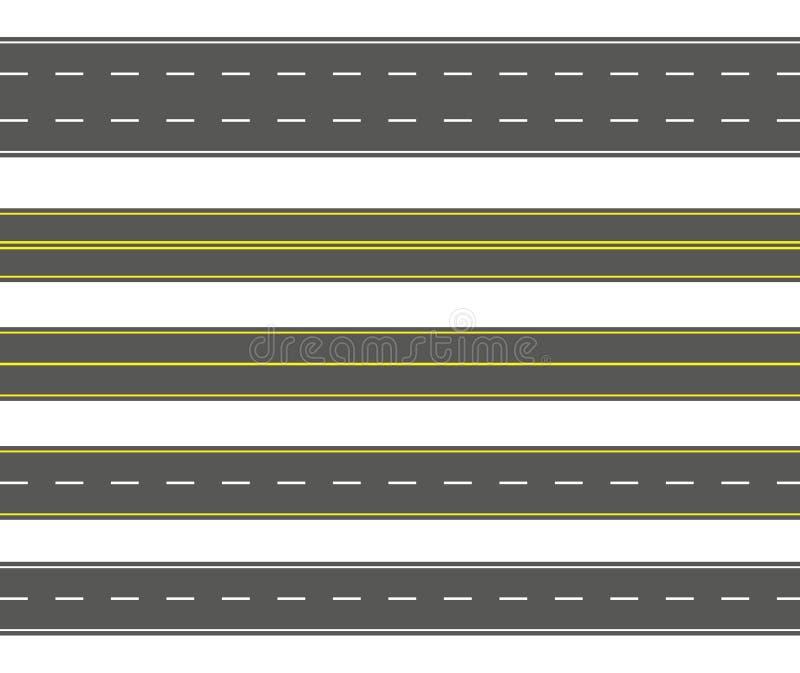 Uppsättning för rak väg Sömlös samling för asfaltvägar Huvudväg- eller körbanabakgrund royaltyfri illustrationer