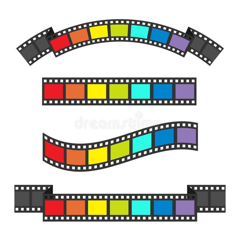 Uppsättning för ram för remsa för regnbågeflaggafilm Olikt formband vektor för bild för designelementillustration Vit bakgrund Fö vektor illustrationer