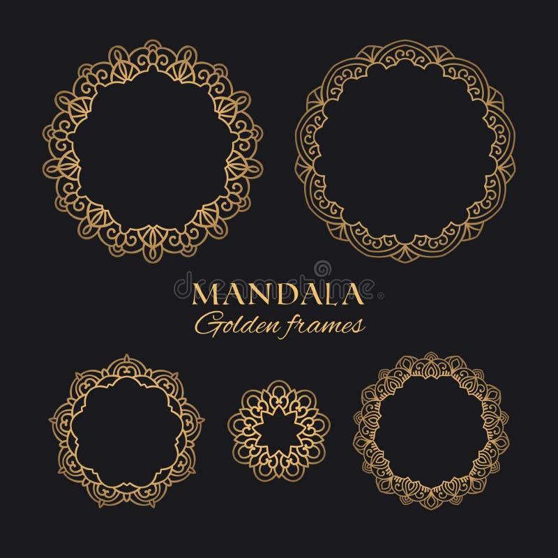 Uppsättning för ramar för runda för Mandalavektor geometrisk Collectiond av orientaliska lyxiga prydnader royaltyfri illustrationer