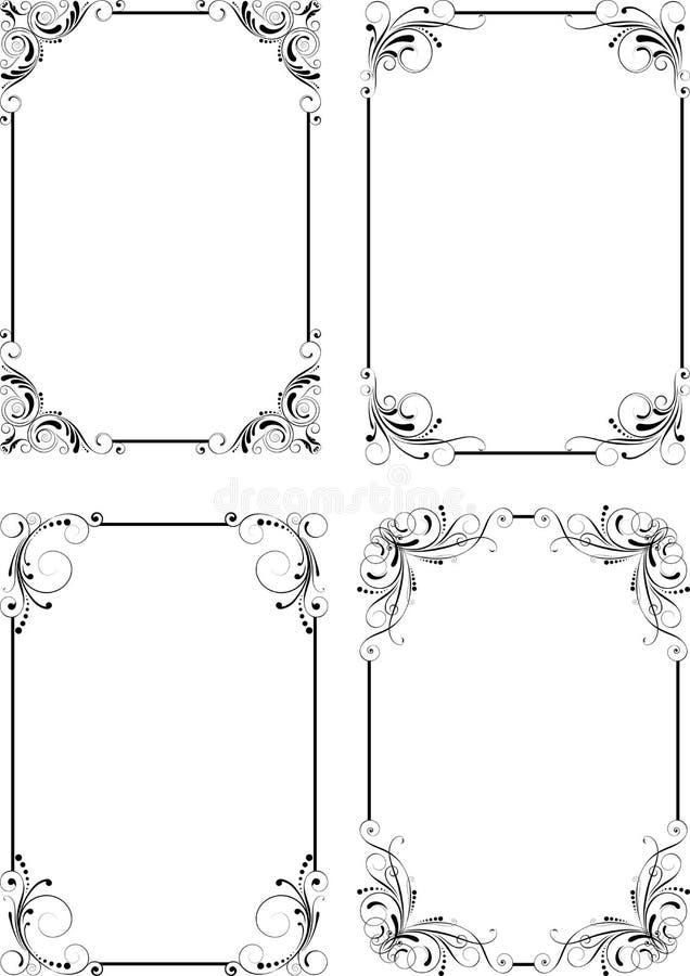 Uppsättning för ramlodlinjesvart royaltyfri illustrationer
