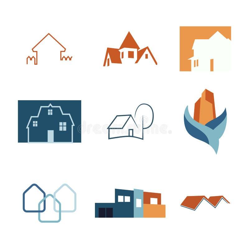 Uppsättning för Real Estate rengöringsduksymboler Huslogoer Konstruktionslogo vektor vektor illustrationer