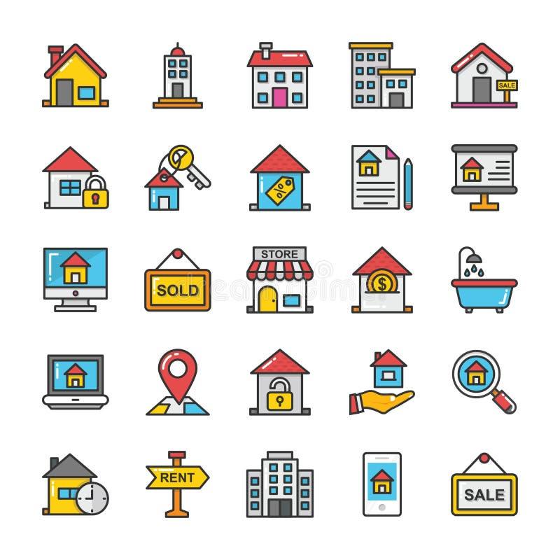 Uppsättning 1 för Real Estate vektorsymboler royaltyfri illustrationer