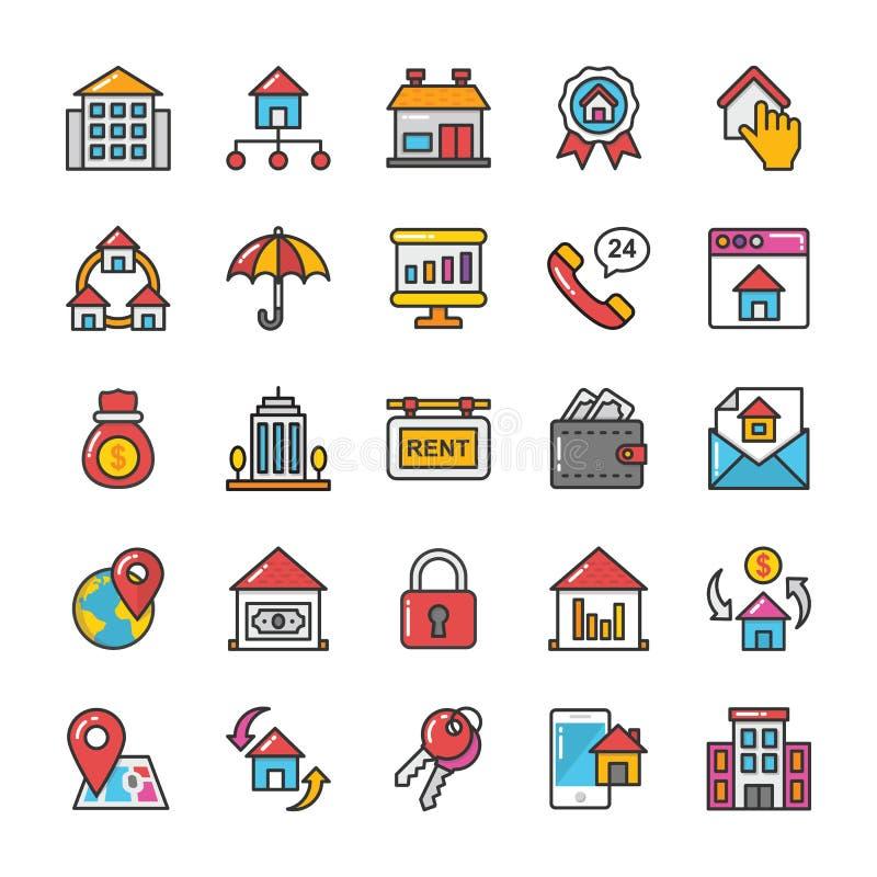 Uppsättning 7 för Real Estate vektorsymboler stock illustrationer