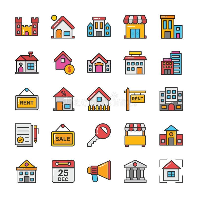 Uppsättning 6 för Real Estate vektorsymboler stock illustrationer
