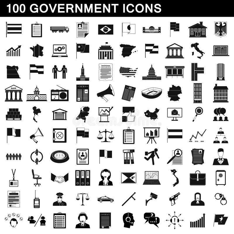 uppsättning för 100 regerings- symboler, enkel stil royaltyfri illustrationer