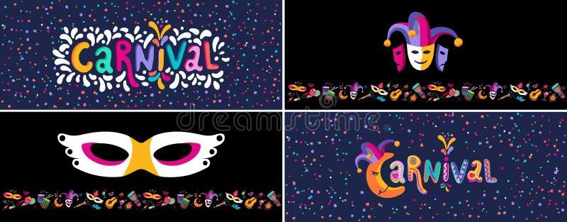 Uppsättning för reklamblad för vektorkarneval färgrik, baner, affischer, inbjudan Planlägger festliga partibiljetter för samling  stock illustrationer