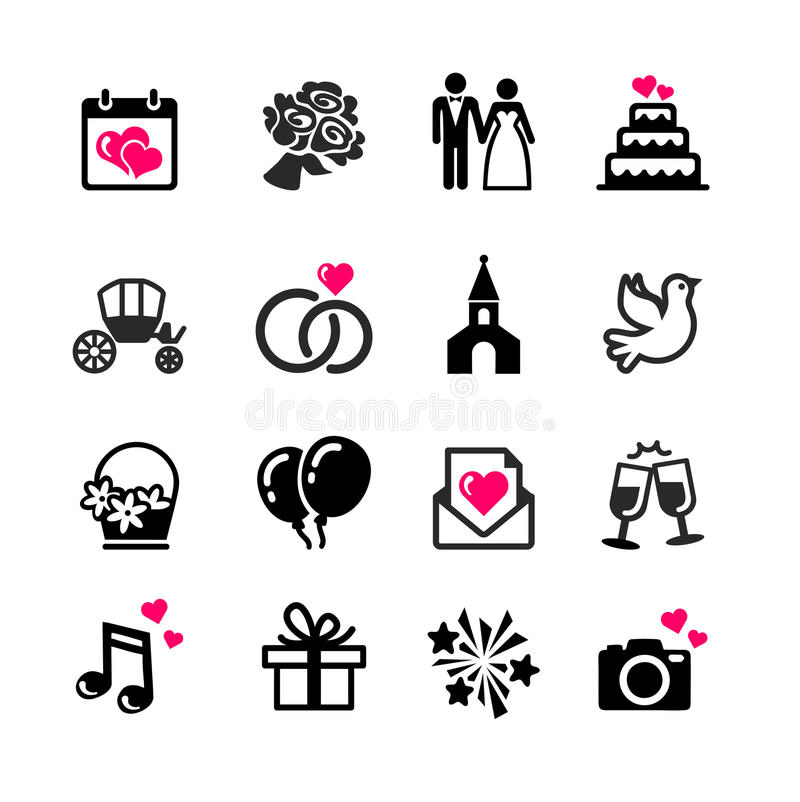 uppsättning för 16 rengöringsduksymboler - bröllop royaltyfri illustrationer