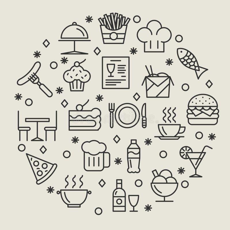 Uppsättning för restaurang- och foodsöversiktssymboler stock illustrationer