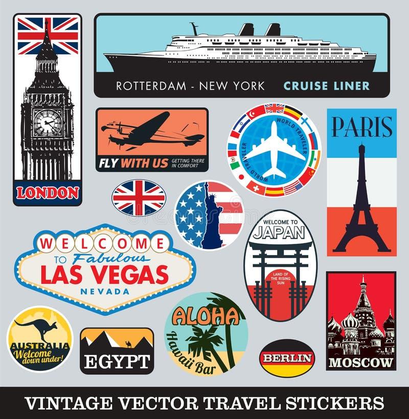 Uppsättning för resväskaklistermärkevektor stock illustrationer